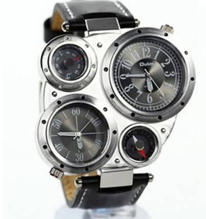 Мужские наручные часы OULM Нескольких часовых поясов часы, термометр, компас  (черный циферблат) b9b4cdd6f38