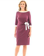 "Женское платье ""Бант"" больших  размеров 48, 50, 52, 54 баклажан"
