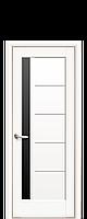 Дверь Грета ПВХ белый матовый с черным стеклом