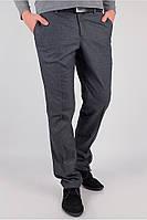 Мужские классические брюки серые в клетку (81F003)