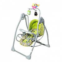Детская колыбель качеля Tilly мобиль с игрушками зеленая