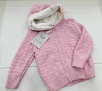 Детская теплая вязаная  кофта для девочки на меху на 2 - 3 года
