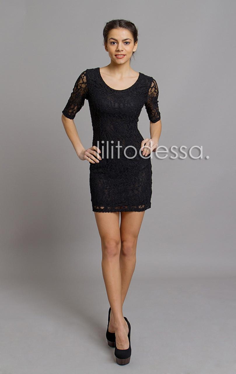 Платье гипюровое черный