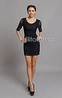 Платье гипюровое черный, фото 1