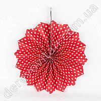 Подвесной веер, красный в мелкий горох, 40 см - бумажный декор-розетка