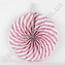Бумажный веер, бело-розовый, 40 см - бумажный декор-розетка