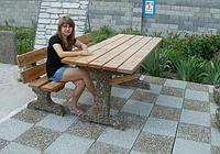 Скамейка Садовая из мытого бетона