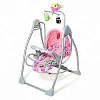 Детская колыбель качеля Tilly мобиль с игрушками розовая