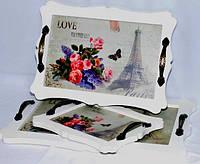 """Поднос деревянный в технике декупаж  """"Love Paris"""" набор 3 шт"""