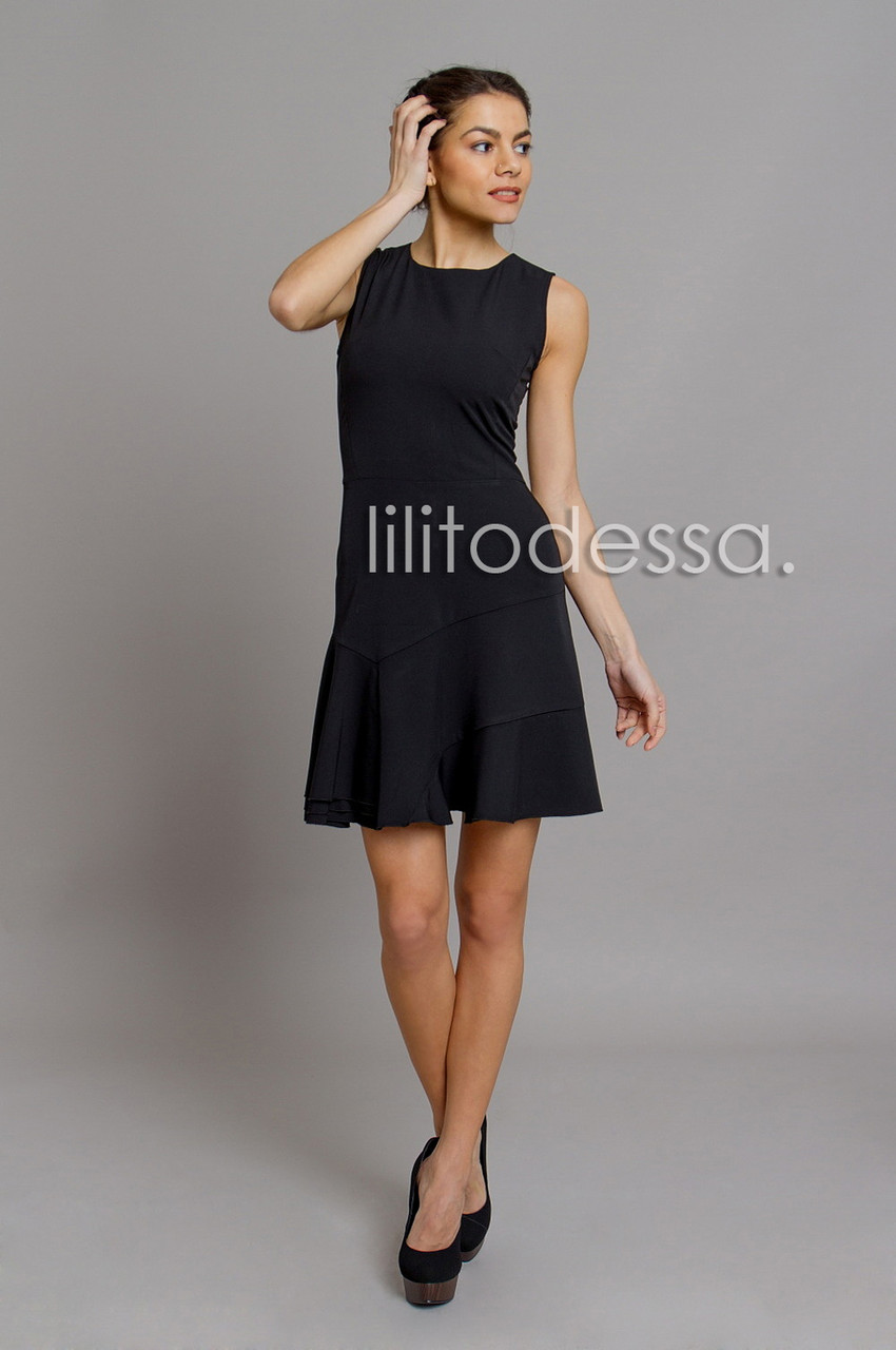 Летнее платье с открытой молнией черный
