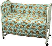 Набор в кроватку 977 Мишки спят голубой РУНО