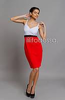 Платье комбинированное красный, фото 1
