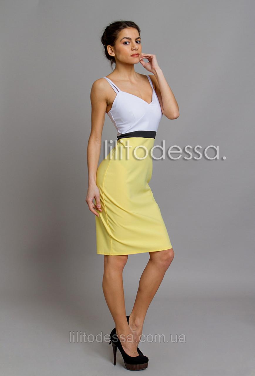 Платье комбинированное желтый