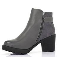 Ботинки женские серые на удобном каблуке   размеры 38-41