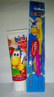 Зубная паста Bobini Клубника 1-6 лет+ зубная щетка 2-7 лет