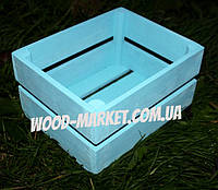 Ящичек из дерева для декора голубой, фото 1