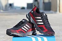 Мужские кроссовки Adidas Marathon Flyknit,  синие с красным / кроссовки мужские Адидас Маратен Флайнет