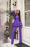 """Оригинальный брючный женский костюм """"ЛиЛи"""" с баской (3 цвета)"""