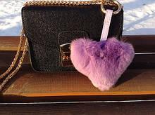 Сердце - брелок Luxury (сиреневый) натуральный мех