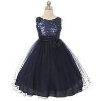 Д-101305-1 Черное вечернее платье блестящее для девочки