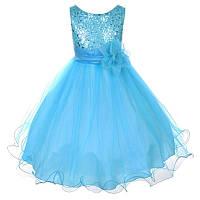 Д-101305-2 Голубое вечернее платье блестящее для девочки
