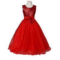 Д-101305-3 Красное вечернее платье блестящее для девочки