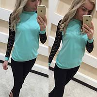 Кофта рубашка блузка свитшот туника реглан с гипюром , фото 1