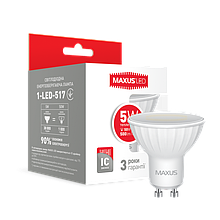 LED лампа MAXUS MR16 5W 3000K 220V GU10 (1-LED-517)
