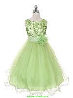 Д-101305-4 Салатовое вечернее платье блестящее для девочки