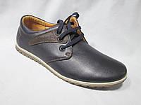 Туфли оптом подростковые для мальчиков 36-41 р., синие с коричневой нашивкой, на шнурках