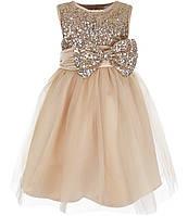 Д-101305-5 Бежевое вечернее платье блестящее для девочки