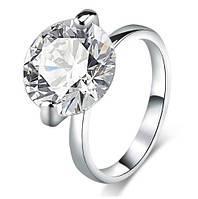 Позолоченное кольцо с белым цирконом р 17 код 1039
