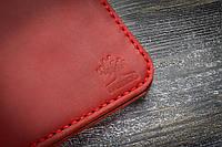 Красное портмоне ручной работы с персонализацией