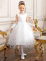 Д-101311 Пышное белое платье для девочки