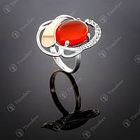 Серебряное кольцо с сердоликом и фианитами. Артикул П-314