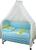Набор в детскую кроватку 7 предметов 960У Ежик голубой РУНО