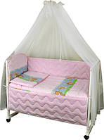 Набор в детскую кроватку 7 предметов 960У Ежик розовый РУНО