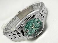 Часы женские ROLEX - Oyster Perpetual, цвет корпуса серебристый, циферблат кружевной бирюзовый
