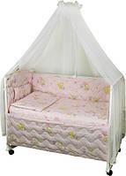 Набор в детскую кроватку 7 предметов 960У Мишки пузатики розовый РУНО