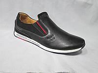 Туфли  подростковые для мальчиков 36-41 р., спортивные, декоративные люверсы, красная полоска, черные