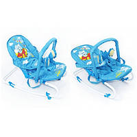 Шезлонг качалка Baby Tilly дуга с игрушками  Слон до 9 кг голубой