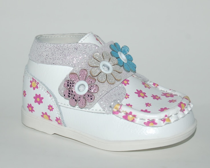 162dd37e7 Ботинки детские для девочки кожаные весна осень, Шалунишка white ромашки,  17-19 -