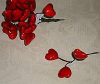 Сердечки на проволоке маленькие красные 3 шт, фото 1