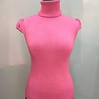 Кашемировый джемпер  фуксия розовый с коротким рукавом и высоким горлом вязанная