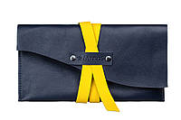 Синий кожаный клатч ручной работы