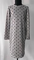 Трикотажное платье -туника в горошек серого цвета  для девочек от 7 до 12лет (34-42размер)