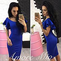 Платье с рукавами-воланами миди трикотаж джерси 3 цвета SML1062