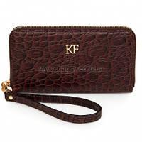 Женский кожаный кошелек Katerina Fox темно-коричневого цвета из натуральной кожи под крокодил (KF-855)