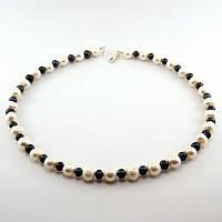 Бусы - натуральный черный и белый жемчуг, серебро.