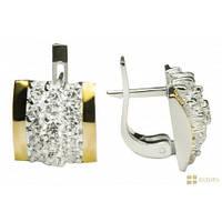 Серебряные серьги с золотом и цирконием Шахматка